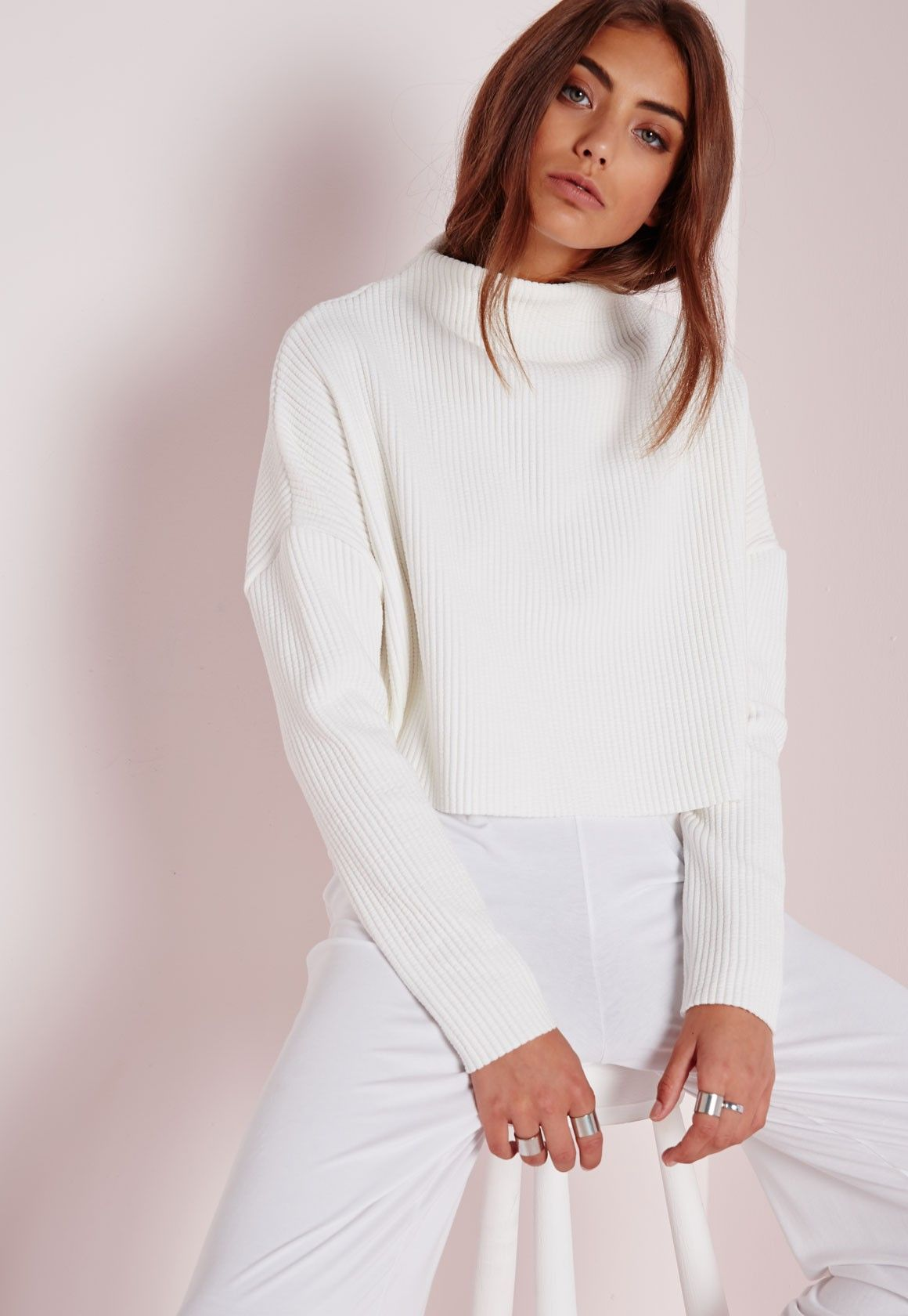 9d60a8ac21 Missguided - Ribbed High Neck Sweater White