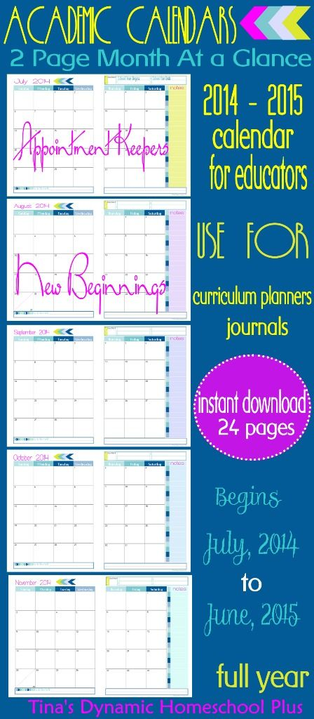 curriculum planner 2 pages per month at a glance academic calendar