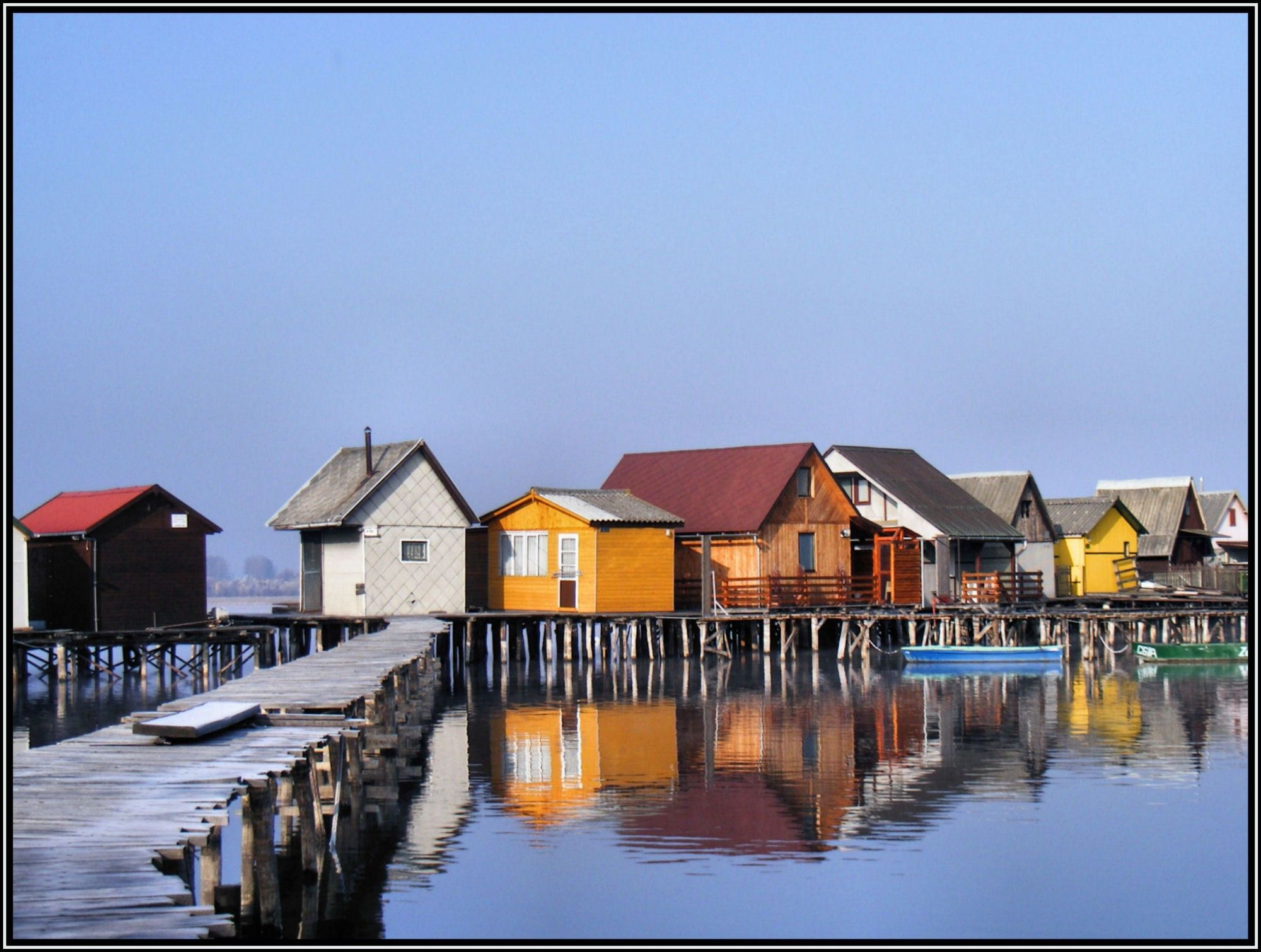Picturesque village on stilts on a lake in Hungary