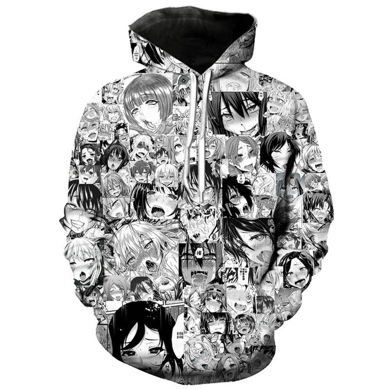 Japanese Ahegao Manga Colorful Pullover Hoodie Hoody Coat Sweatshirt Tops Jumper