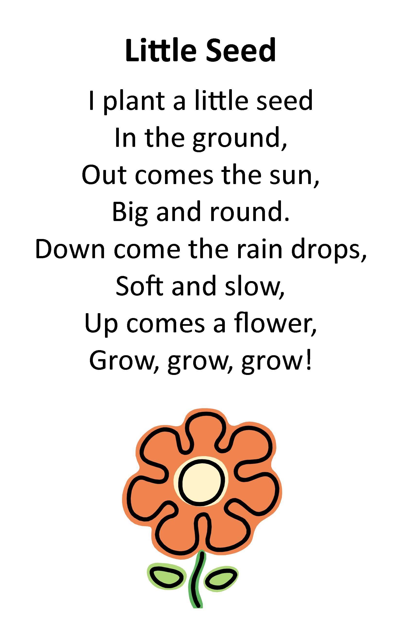 Uncategorized Poem On Flowers In English For Kids itty bitty rhyme little seed preschool programs seed