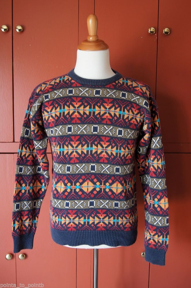 Vintage Men Woolrich Aztec Pattern Bold Multi Color Crewneck Sweater