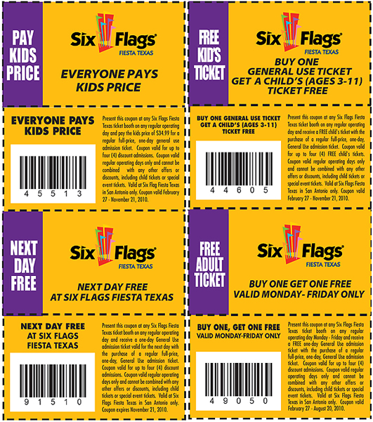 Six Flags Coupons submitted by our users. Just give it a try Price will go back soon. Get 65% off Six Flags's best. This coupon is selected just for you. Come for it and save. Buy investors, tickets and more at worthy prices. Try Deal. worked before 11/22/ Enjoy Six Flags savings today. Free Upgrade To A Gold Season Pass With.