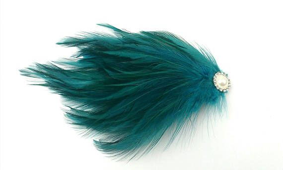 Mint Green Burlesque Feather Pad Fascinator Pearl Gatsby Flapper Hair Accesory #flapperhair