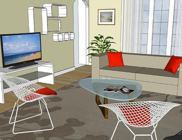 LIVING ROOM SUN 3D CAD Drawings Showing Modern Style Interiors And Layout Options For