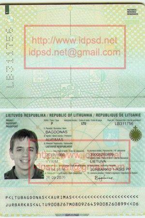 Template Lithuania Passport Psd Psd In 2019 Passport Birth