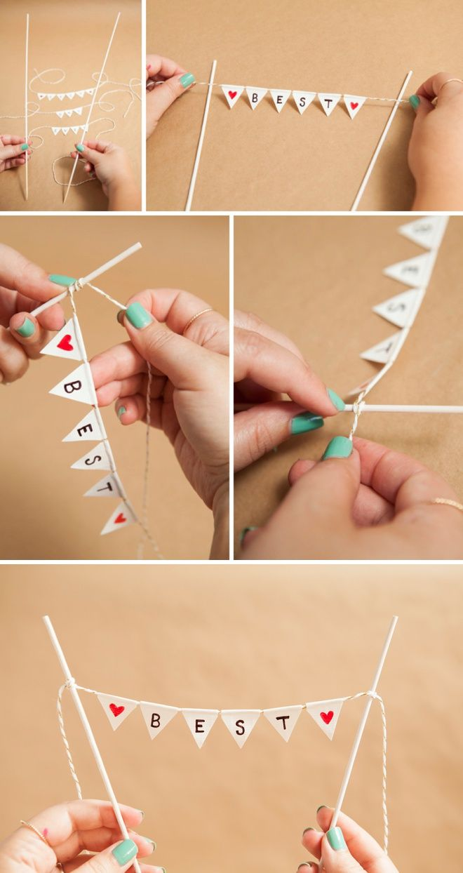 Learn How To Make A Darling And Simple Bunting Cake Topper Diy Bunting Cake Topper Cake Banner Topper Diy Bunting For Cake