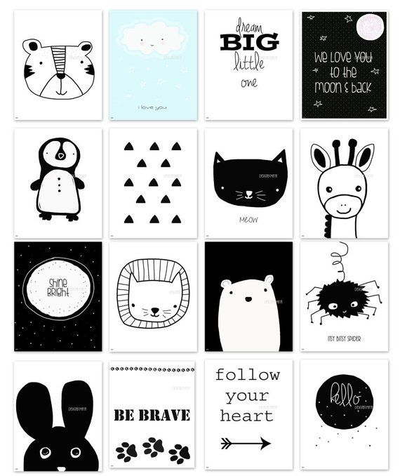 Photo of Nursery wall art, Baby room Decor, Children Art, Black and White, Modern, Nordic art, Scandinavian Monochrome Kids, Bear, meow, shine, hello