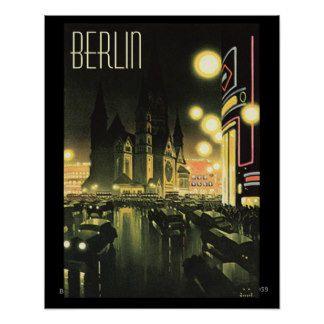 Vintage Berlin at Night 1939 16x20  Poster