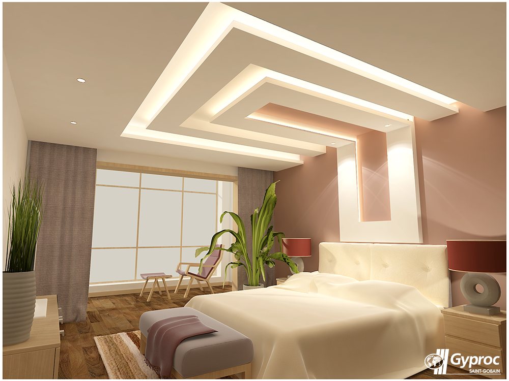 Gyproc falseceiling can completely change your bedroom for Drawing room bed design
