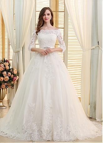 Romantic Tulle Off-the-shoulder Neckline Ball Gown Wedding Dresses ...