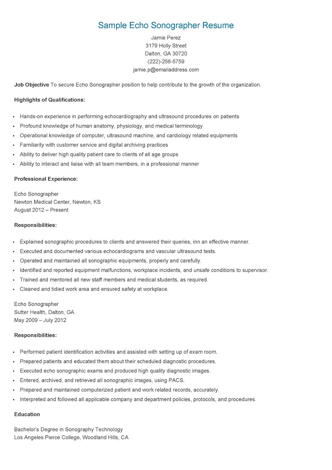 Sample Echo Sonographer Resume Resume Samples Resame Pinterest
