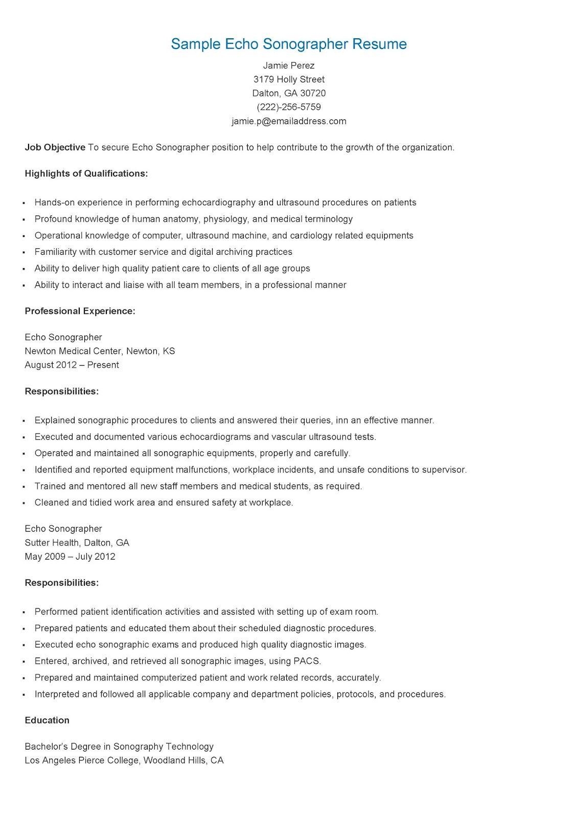 Sample Echo Sonographer Resume Sonographer, Writing help