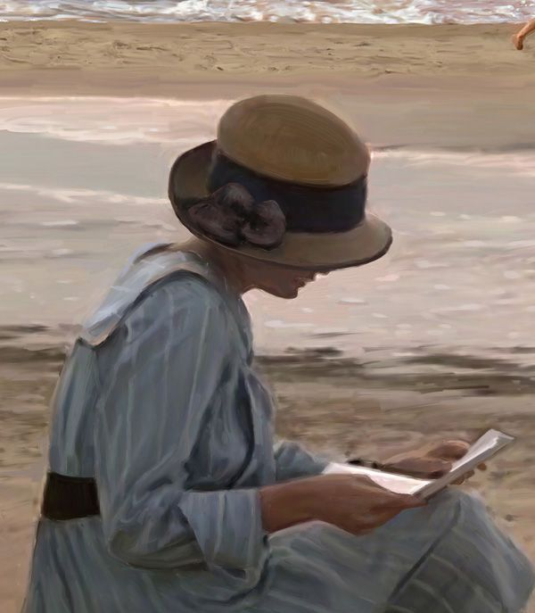 Reading a letter on the beach