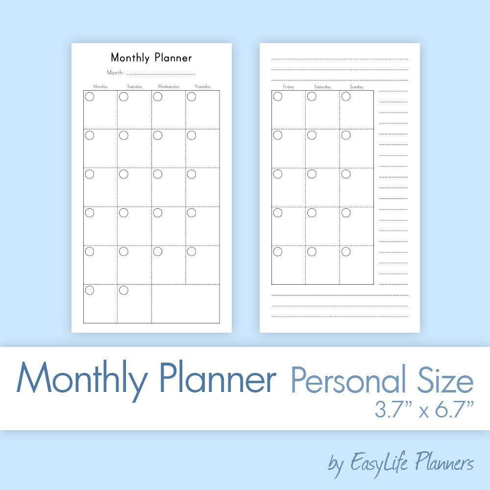 monthly planner personal size37x67 inches printable pdf filofax