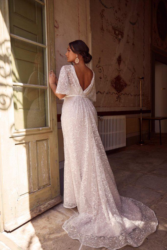 Monterey Madi Lane Bohemian Style Wrap Beaded Bodice Wedding Dress flutter sleeves plus size curvy – time to plan a wedding