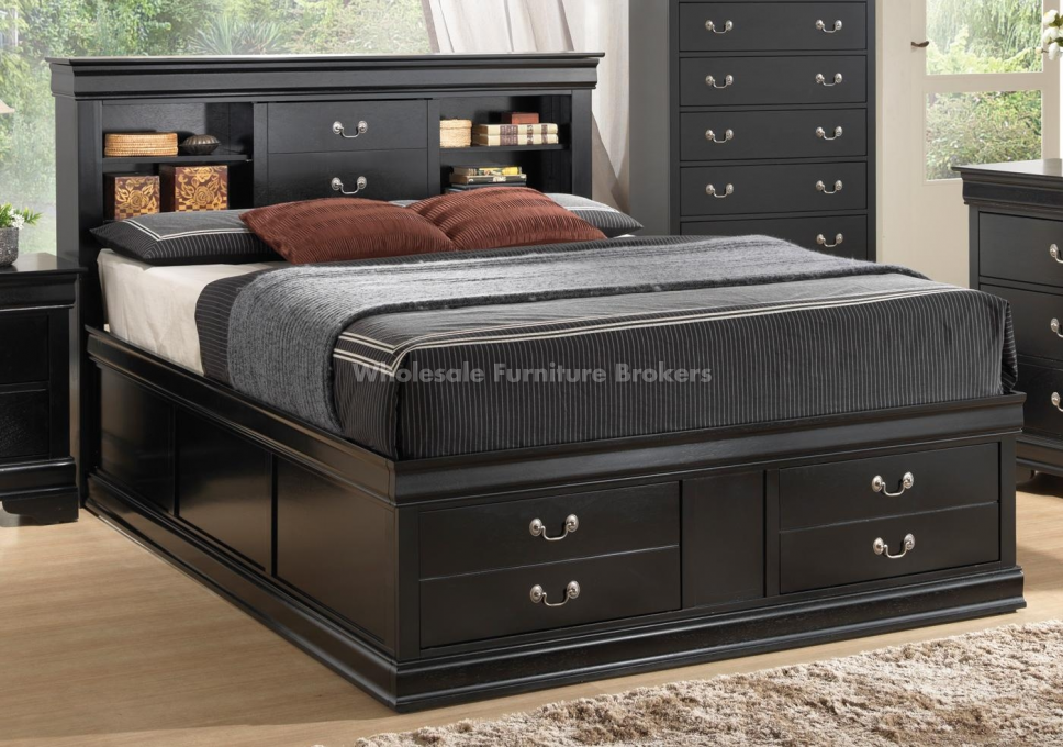 Best Queen Size Storage Beds With Bookshelf Black Louis 640 x 480