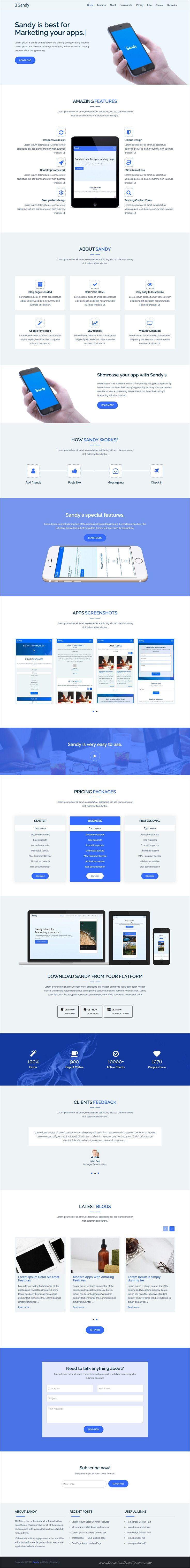 Sandywp Apps Landing Page Wordpress Theme Landing Page App Promotion Wordpress Landing Page