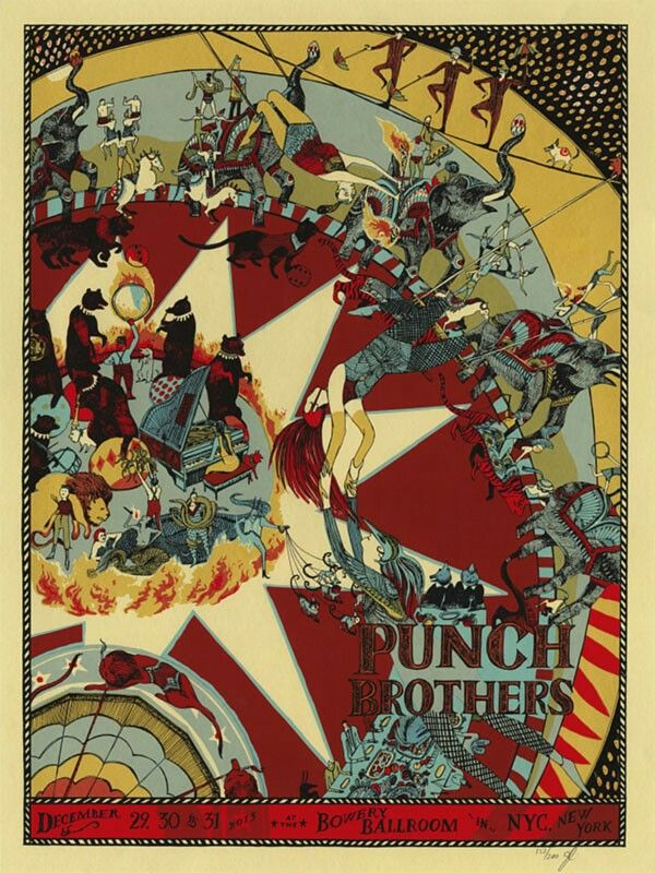 """Punch Brothers December 29th, 30th & 31st, 2013 at the Bowery Ballroom in NYC, New York  Info: Five-color screenprint on 100# French cover stock • 18"""" x 24"""" Signed & Numbered Edition of 200  Illustration:Jessica Seamans"""