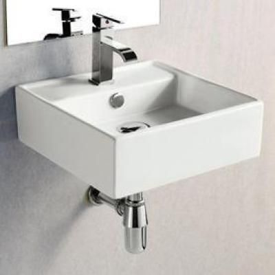 Elanti Wall Mounted Square Bathroom Sink In White Ec9868 The Home Depot Square Bathroom Sink Bathroom Sink Sink