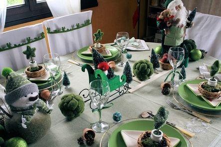 Table de Noël en vert