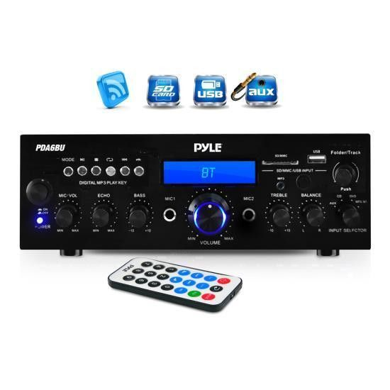 Bluetooth Stereo Amplifier Receiver, FM Radio, USB & SD Memory Card Readers, Aux (3.5mm) Input, Digital LCD Display, Microphone Inputs, 200 Watt