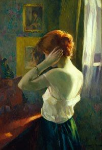 Women by Russian-born American Ivan Gregorewitch Olinsky 1878-1962  Redheaded Woman 1918