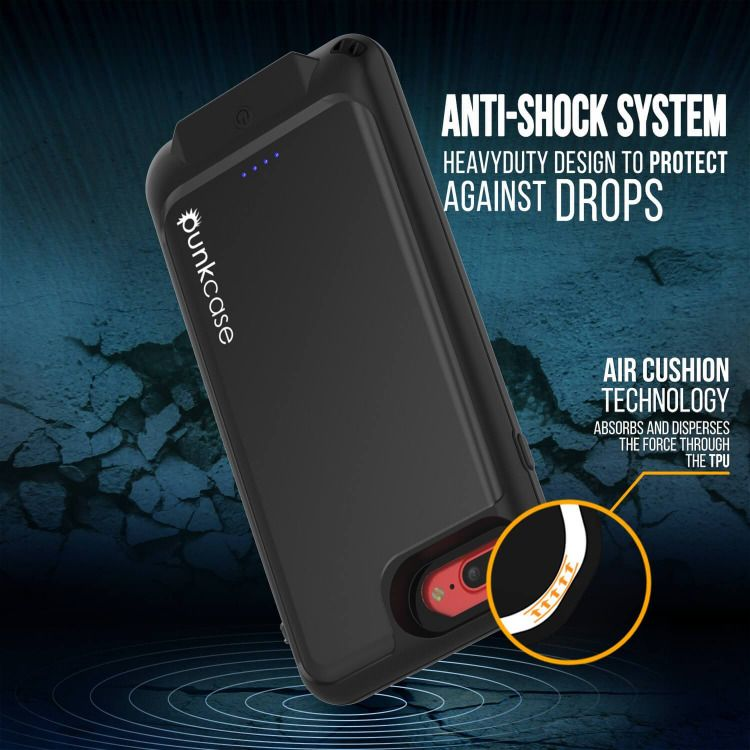 the best attitude 2c933 502f4 PunkJuice iPhone 7+Plus Battery Case Black - Waterproof Slim Power ...