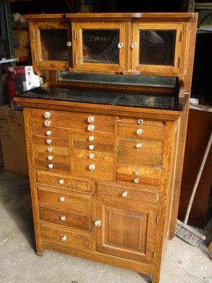 Antique Solid Oak Dental Cabinet