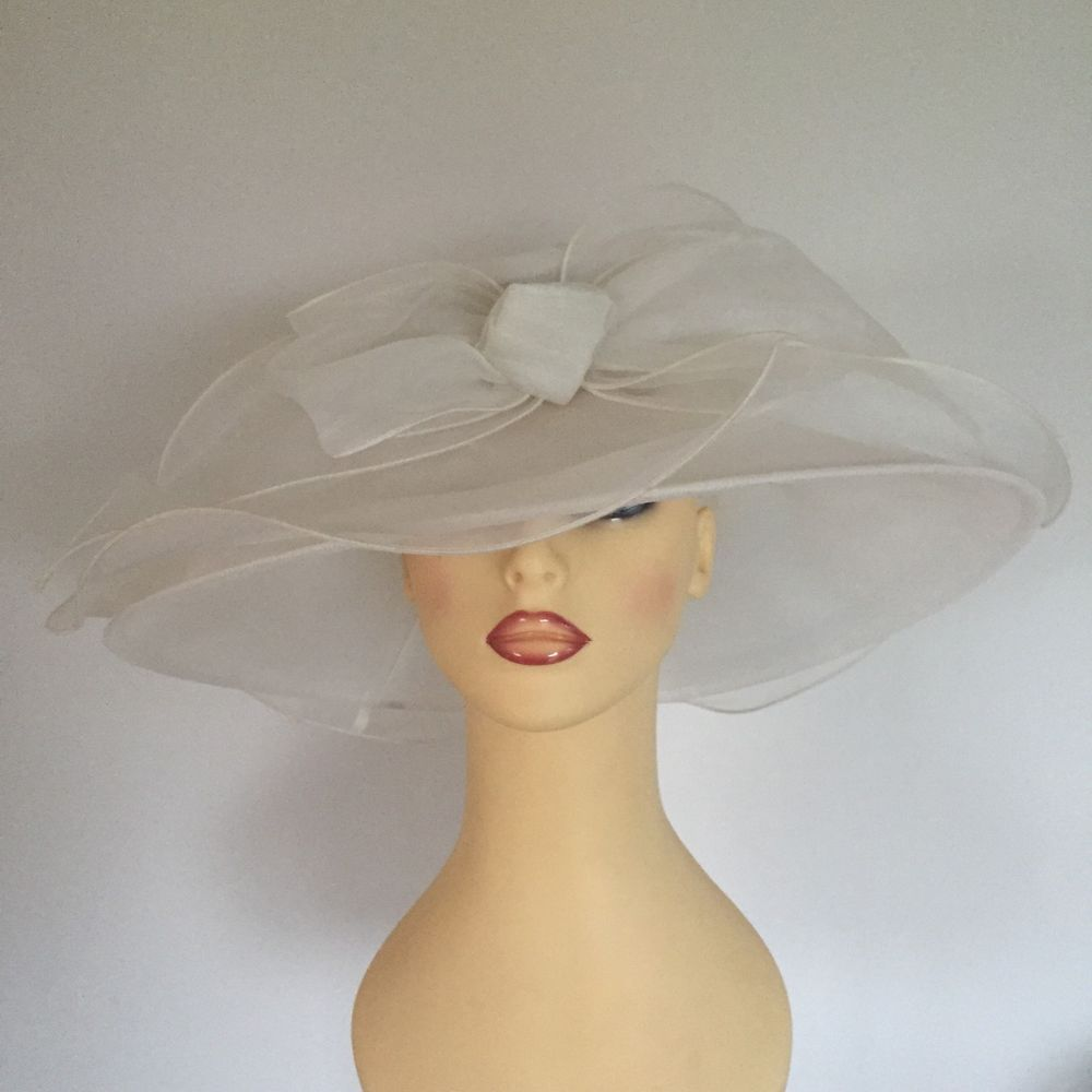 Las Wedding Races Mother Bride Hat Ivory Cream Chiffon By Marks Spencer