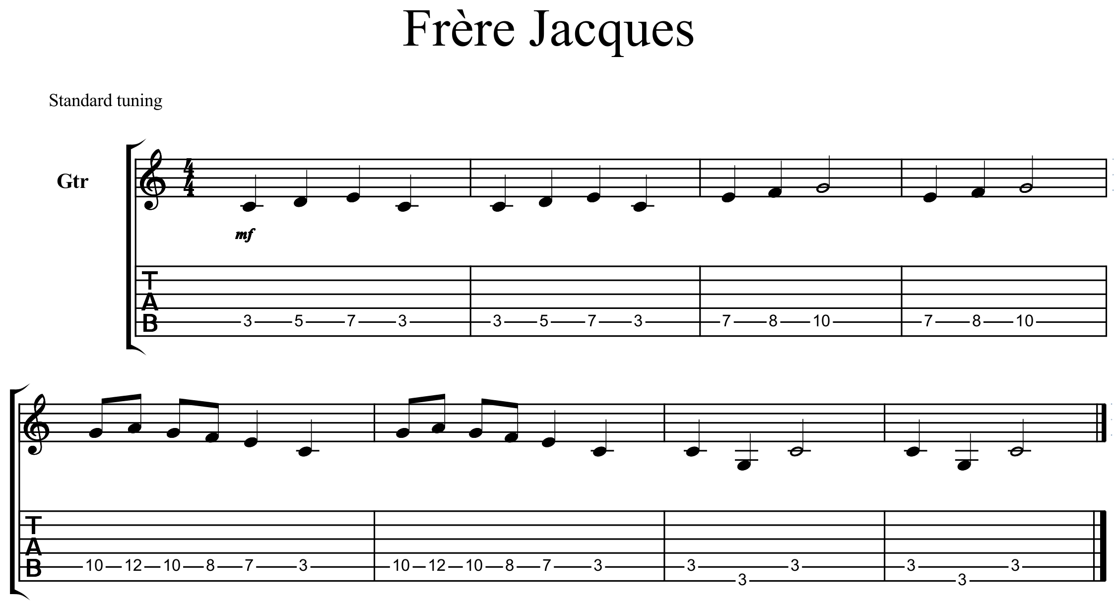 tablature frere jacques