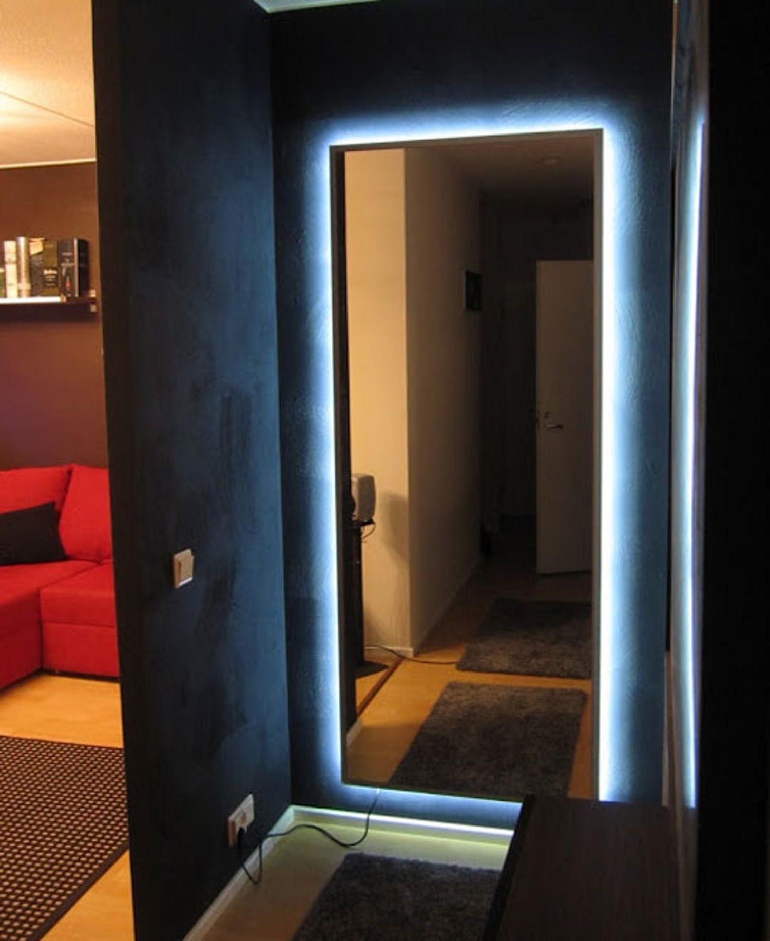 Ikea Mirror Transformed With Nightclub Chic Led Lighting Bedroom