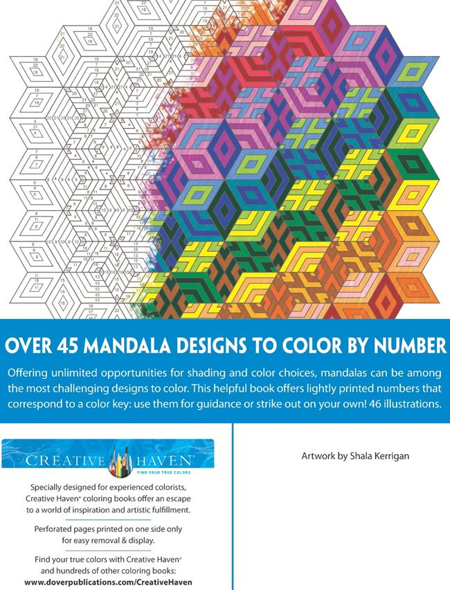 Creative Haven Mandalas Color by Number Coloring Book | Coloring for ...