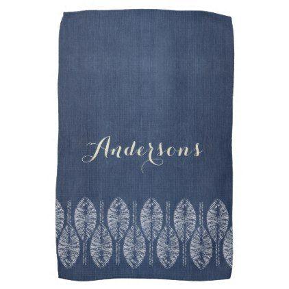 Organic Leaf Indigo Blue Tie Dye Batik Personalize Kitchen Towel | Blue Ties