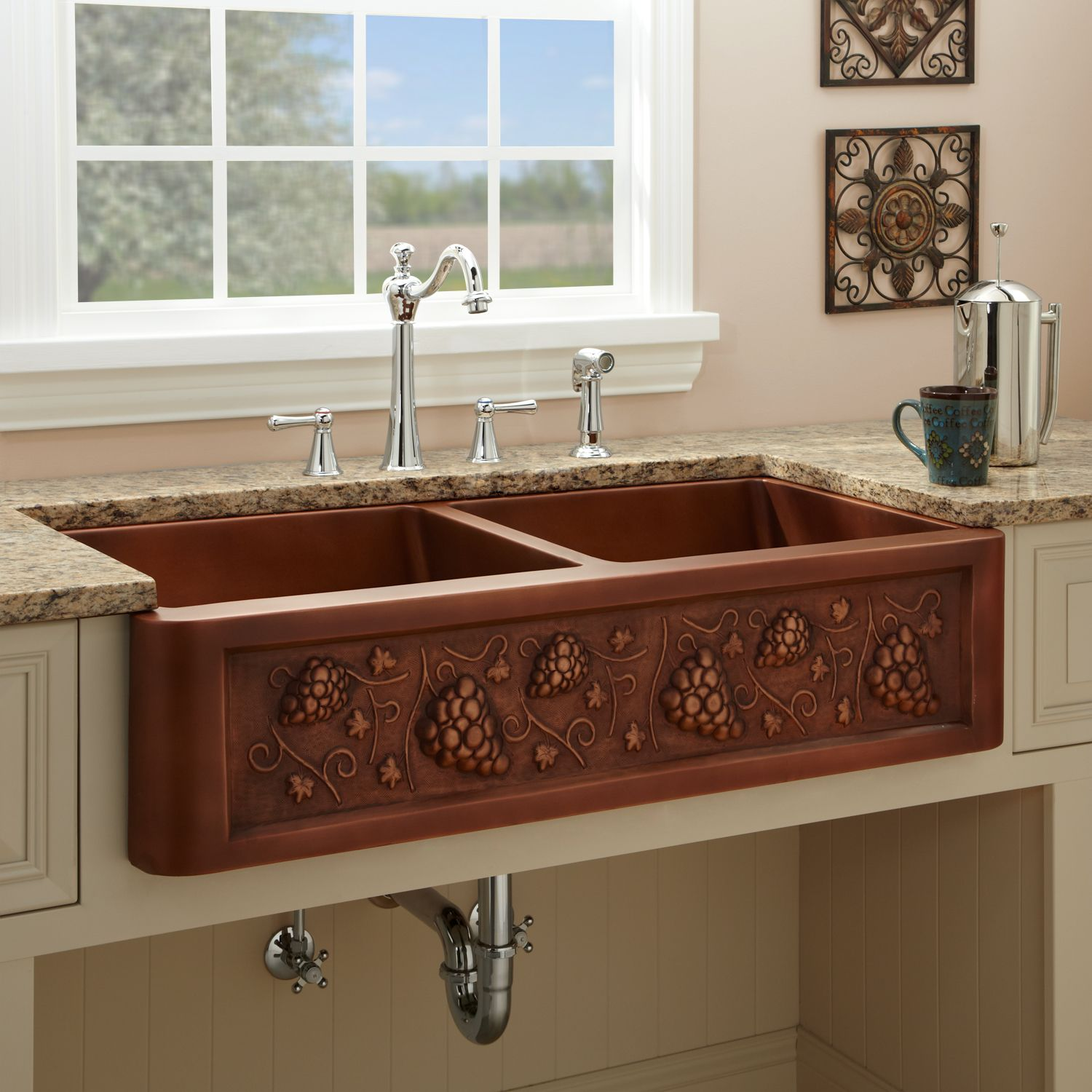 39 Tuscan Double Well Farmhouse Copper Sink With Grape Motif