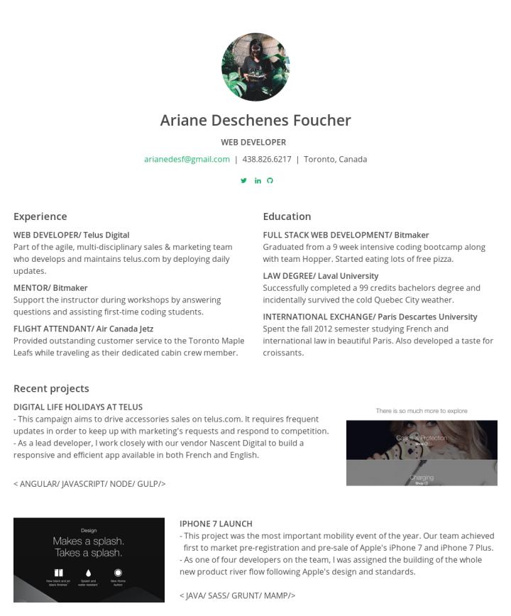 Ariane Deschenes FoucherS Cakeresume  Ariane Deschenes Foucher