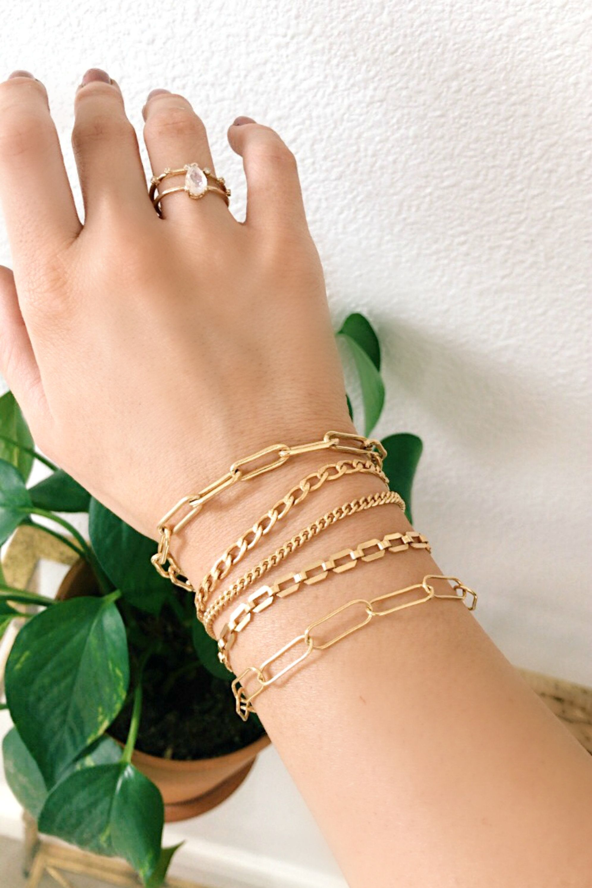 statement jewelry Chain bracelets gold plated jewelry handmade jewelry gifts for her Brass bracelets gifts jewelry women gifts