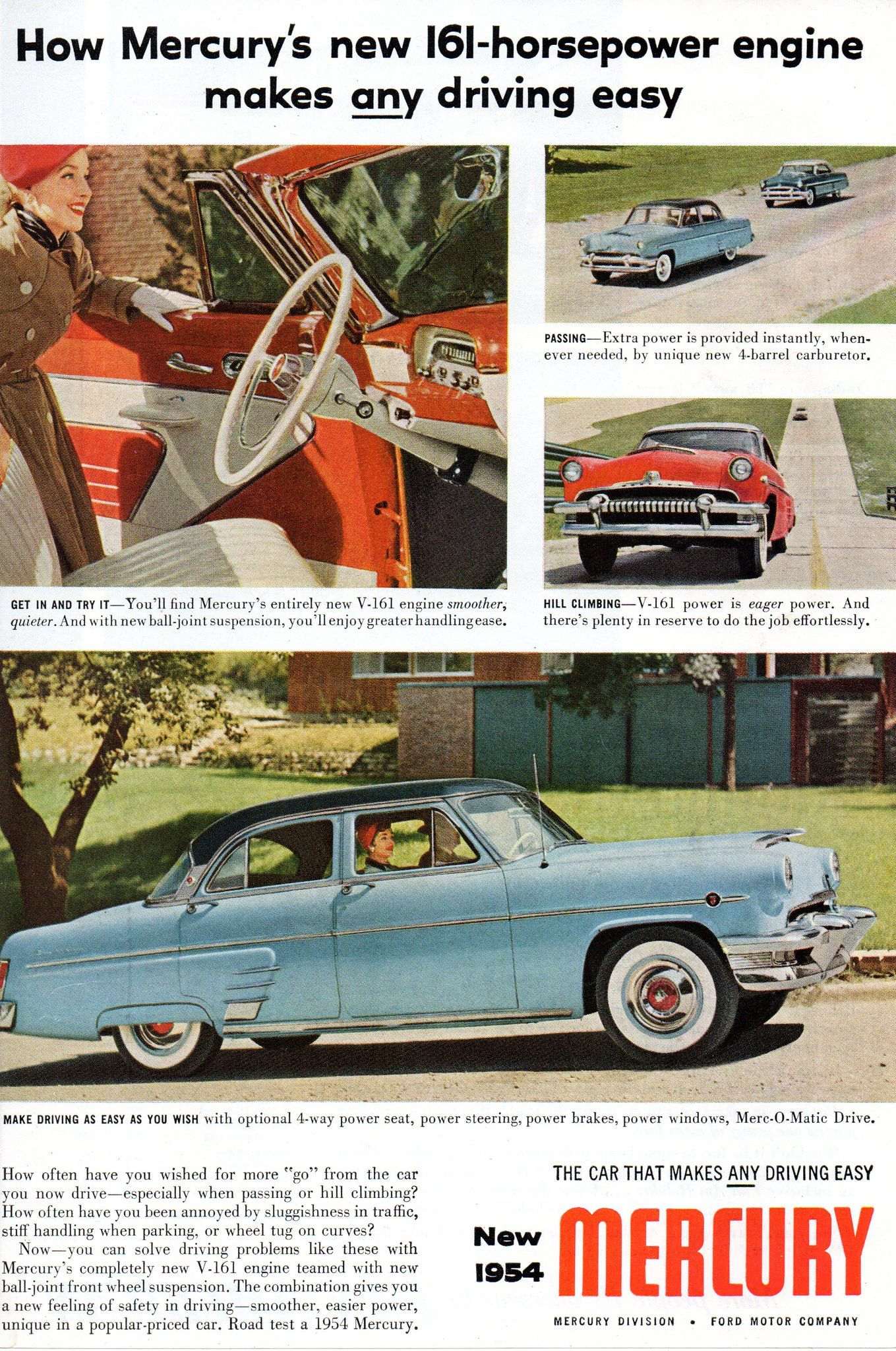 1954 Mercury Ford Usa Original Magazine Advertisement Car