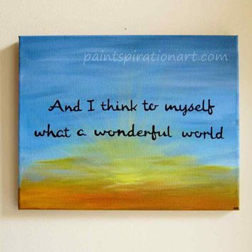 Canvas Painting Of Quotes What A Wonderful World 11x14 ...