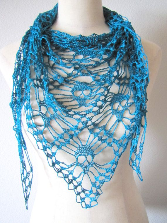 Crochet Pattern For Skull Shawl : Dark Jade Teal Skull Shawl Wrap Scarf Crochet Mulberry ...