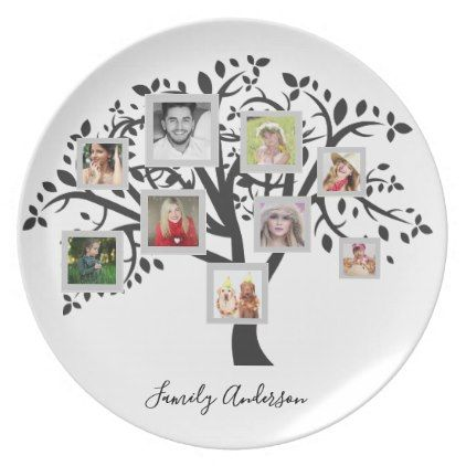 Photo Collage Family Tree Template Personalized Plate  Wedding