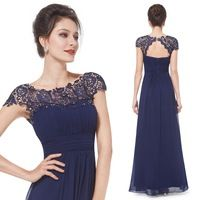 Navy Blue Lacey Neckline Open Back Ruched Bust Evening Dress HE09993NB