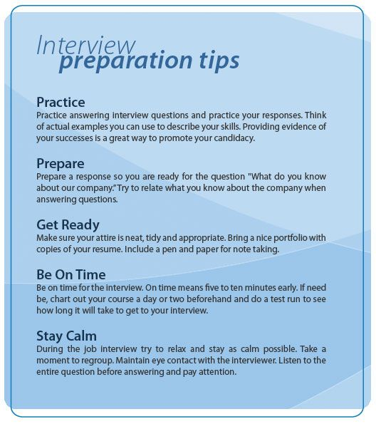 This gives good tips on how to to prepare for an interview - interview tips