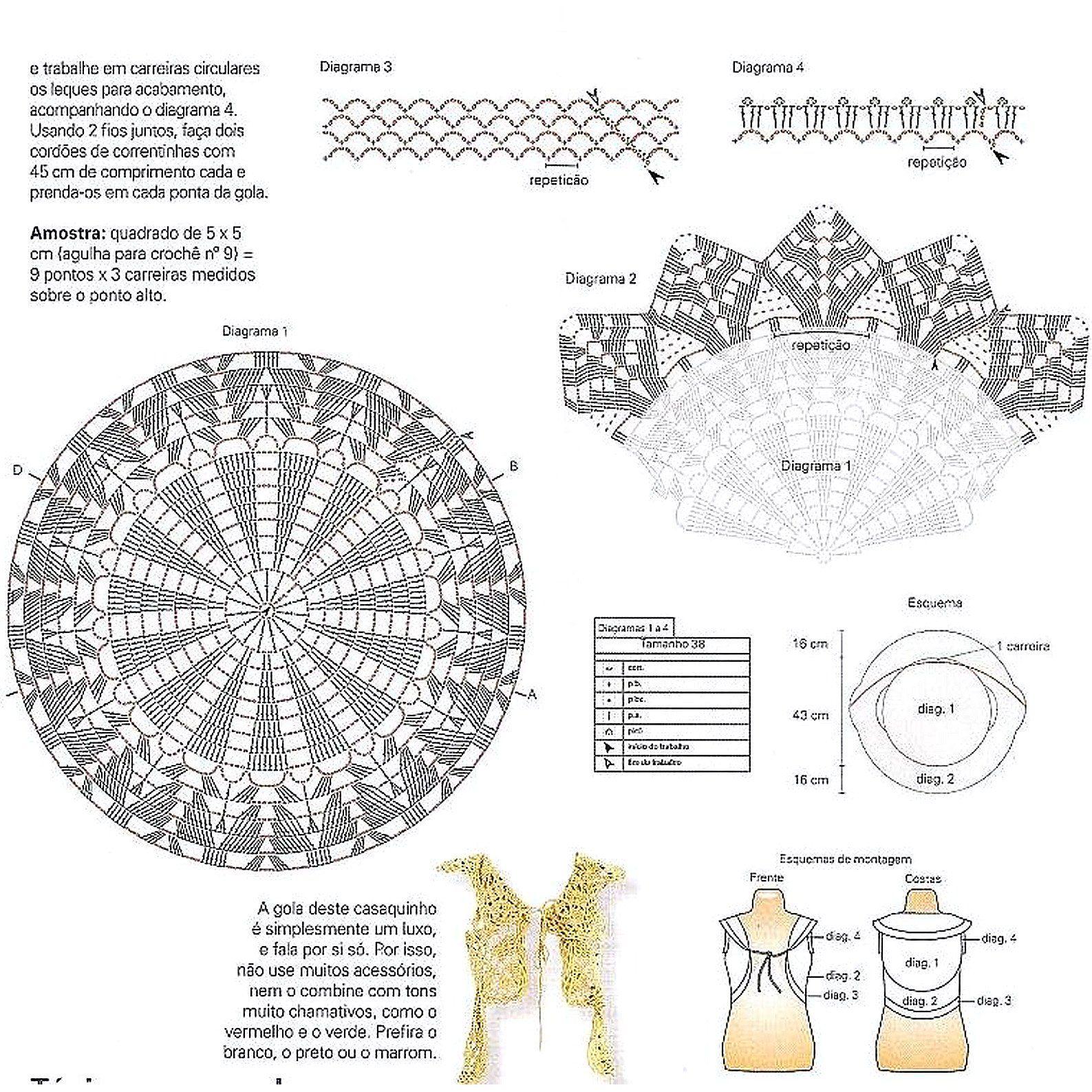 Chaleco Bolero Doble Cuello - Patrones Crochet | ニットファッション ...