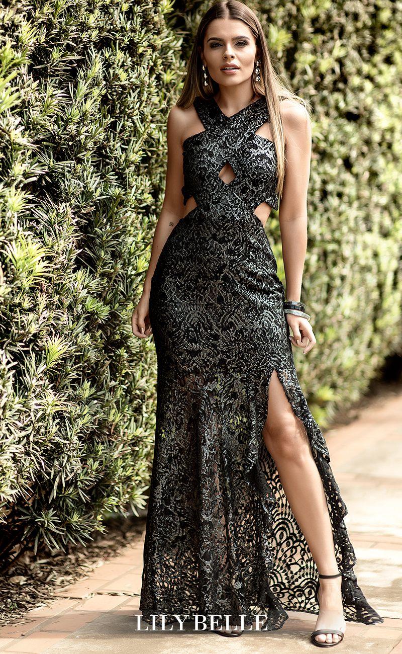 1e72bbe822 Vestido Lily Belle. Vestido longo. Vestido em renda. Vestido elegante. Vestido  longo para festa. Vestido com fenda. Vestido de festa. Vestido longo.