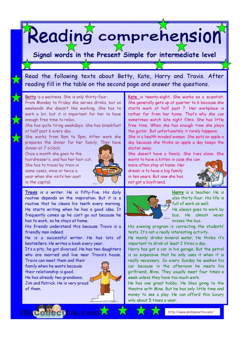 - Reading Comprehension * Signal Words In The Present Simple Tense