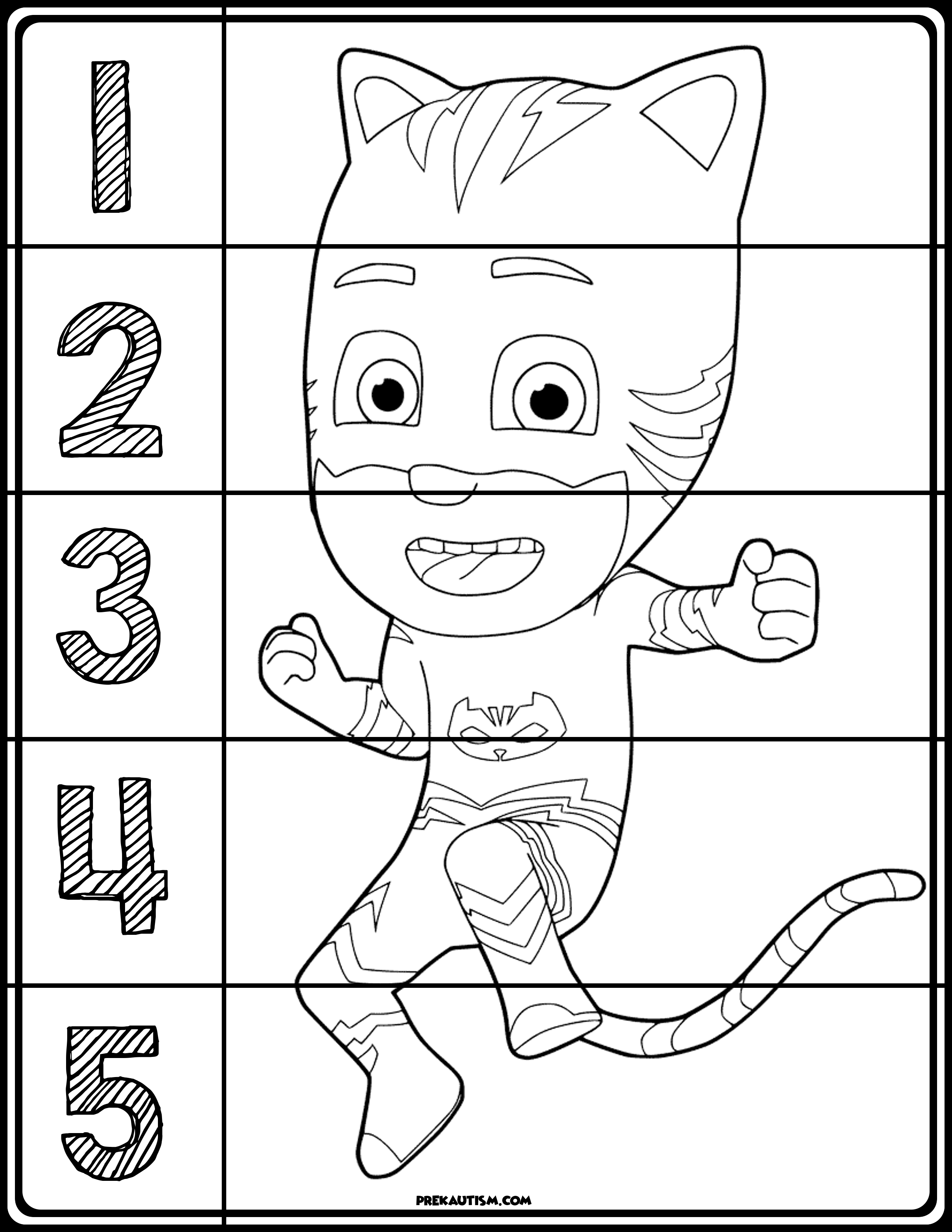 PJ Masks Coloring Number Puzzles | Number puzzles, Free printable ...
