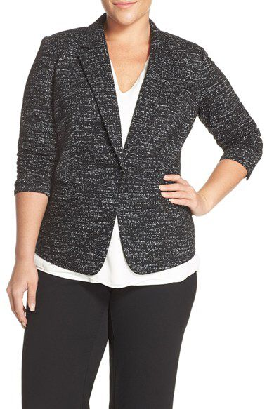 9f4a9806210 Vince Camuto Vince Camuto Jacquard Knit One-Button Blazer (Plus Size)  available at  Nordstrom