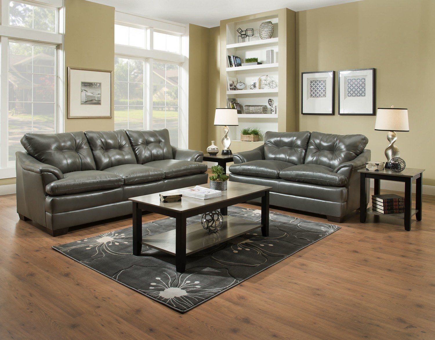 Best Apollo Charcoal Sofa And Love Seat Set 5122 799 00 400 x 300