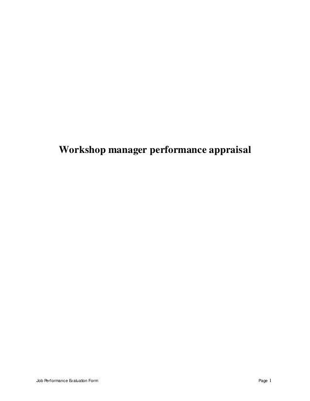 Job Performance Evaluation Form Page 1 Workshop manager performance
